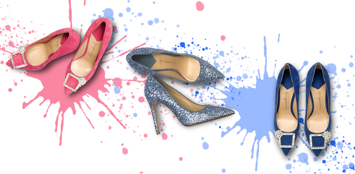 Décolleté con tacco alto Glitter Candy azzurre, Crystal Candy blu elettrico e rosa fuchsia su sfondo colorato