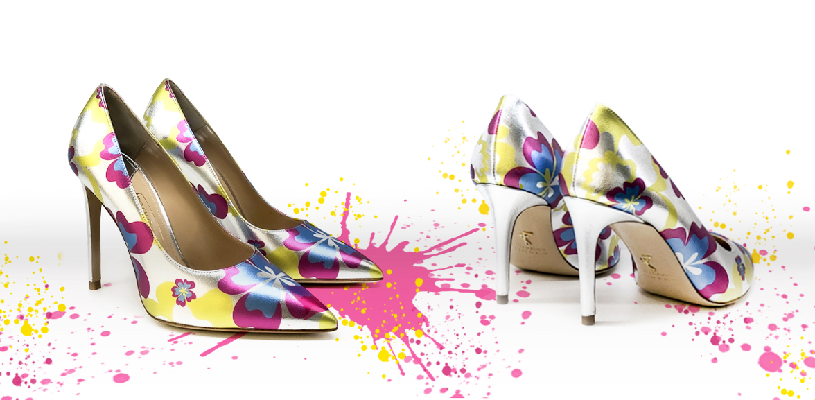 Electric blu Crystal Candy pumps with high heel on a colored background