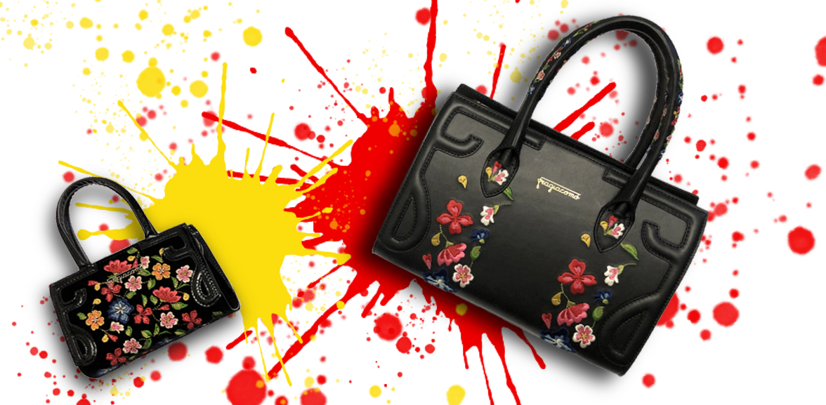 Black velvet shoulder bag 'Micro Icon' and black leather 'Mini Icon' with multicolor embroidery on a colored background