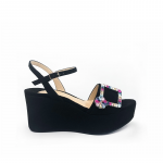 Black suede platform sandals with multicolor crystal buckle hand made in Italy, women's model by Fragiacomo