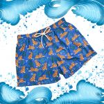 Blue men's swim shorts in light fabric with tiger pattern made in Italy by Fragiacomo