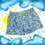 Bright blue men's swim shorts in light fabric with pool pattern made in Italy by Fragiacomo