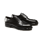 Black calfskin Derby shoes with handmade Goodyear construction, men's model by Fragiacomo