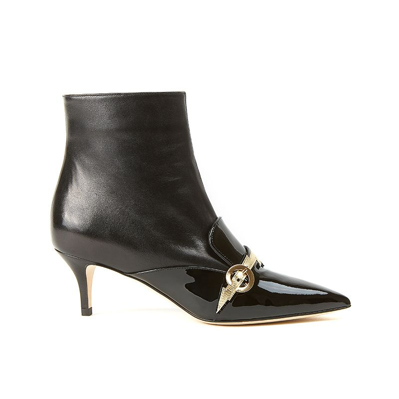 778a17ac3e5fd Ankle boots in black nappa and patent leather with flash in gold leather