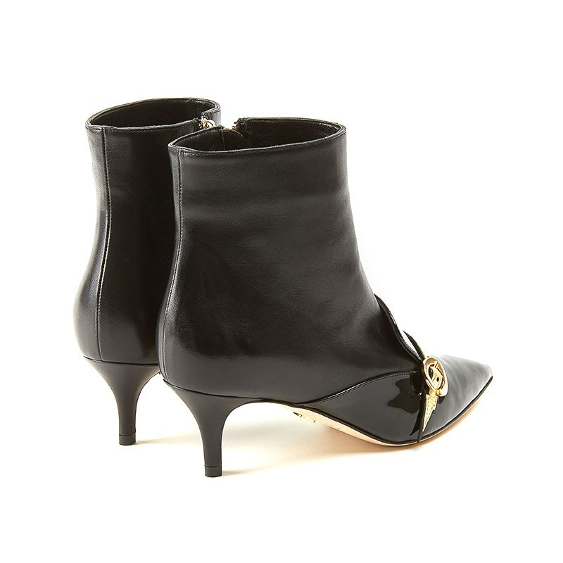 Ankle boots in black nappa and patent leather with flash in gold leather