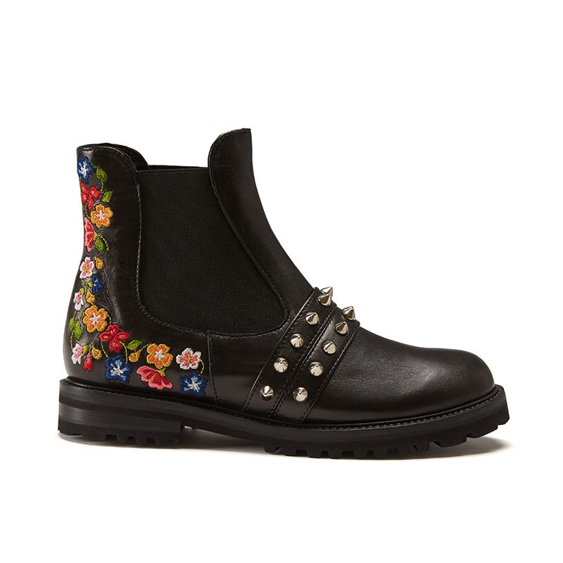 Black calfskin ankle boots hand made in Italy with studs and embroidery, women's model by Fragiacomo