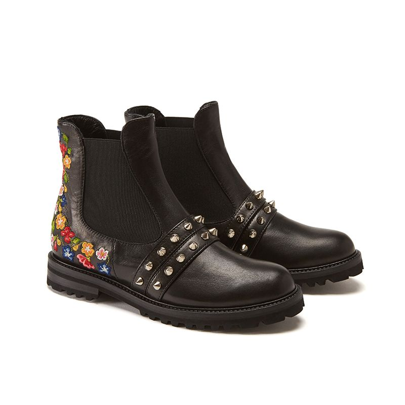 Black calfskin ankle boots hand made in Italy with studs and embroidery, women's model by Fragiacomo, side view