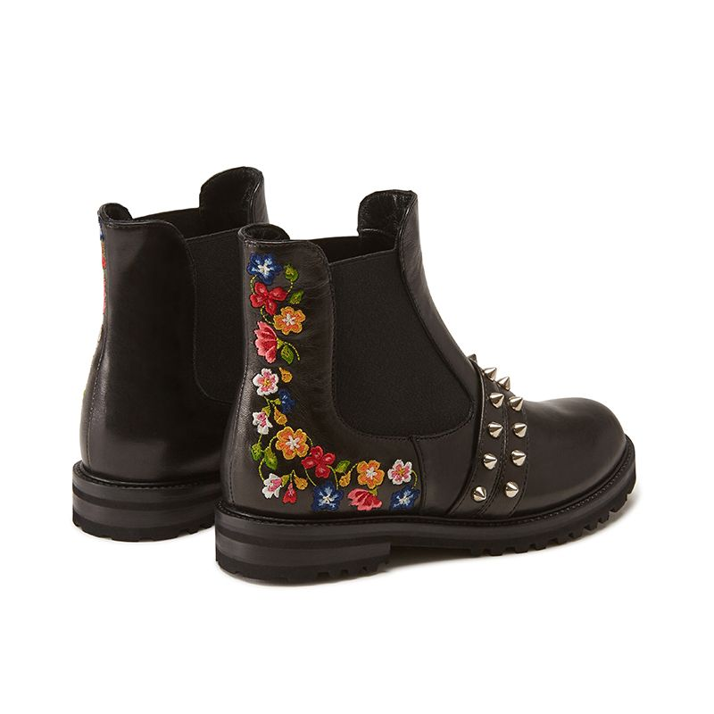 Black calfskin ankle boots hand made in Italy with studs and embroidery, women's model by Fragiacomo, back view