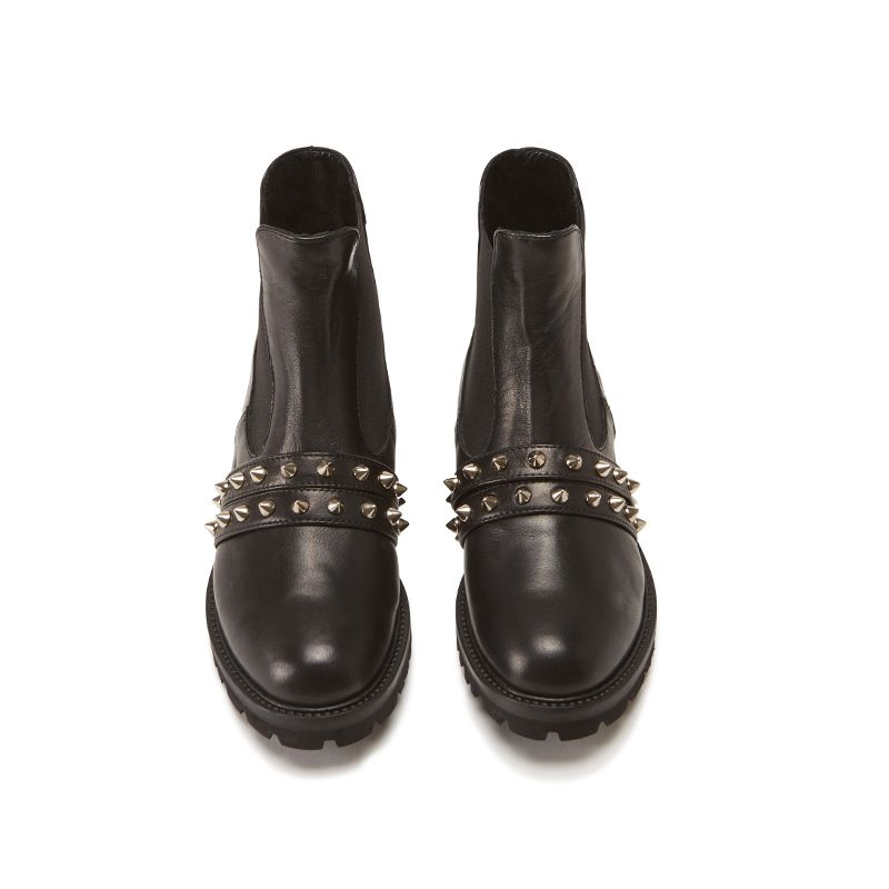 Black calfskin ankle boots hand made in Italy with studs and embroidery, women's model by Fragiacomo, over view