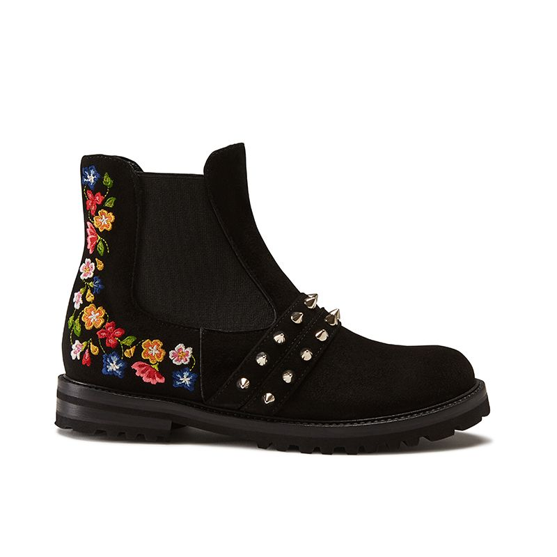 Black suede ankle boots hand made in Italy with studs and embroidery, women's model by Fragiacomo