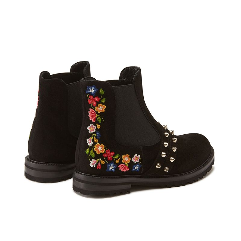 Black suede ankle boots hand made in Italy with studs and embroidery, women's model by Fragiacomo, back view