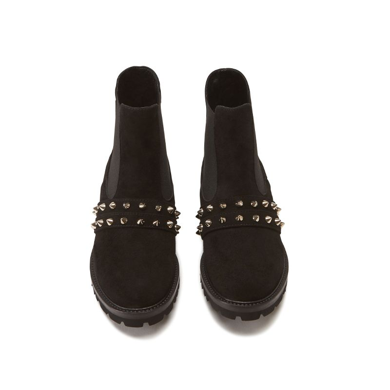 Black suede ankle boots hand made in Italy with studs and embroidery, women's model by Fragiacomo, over view