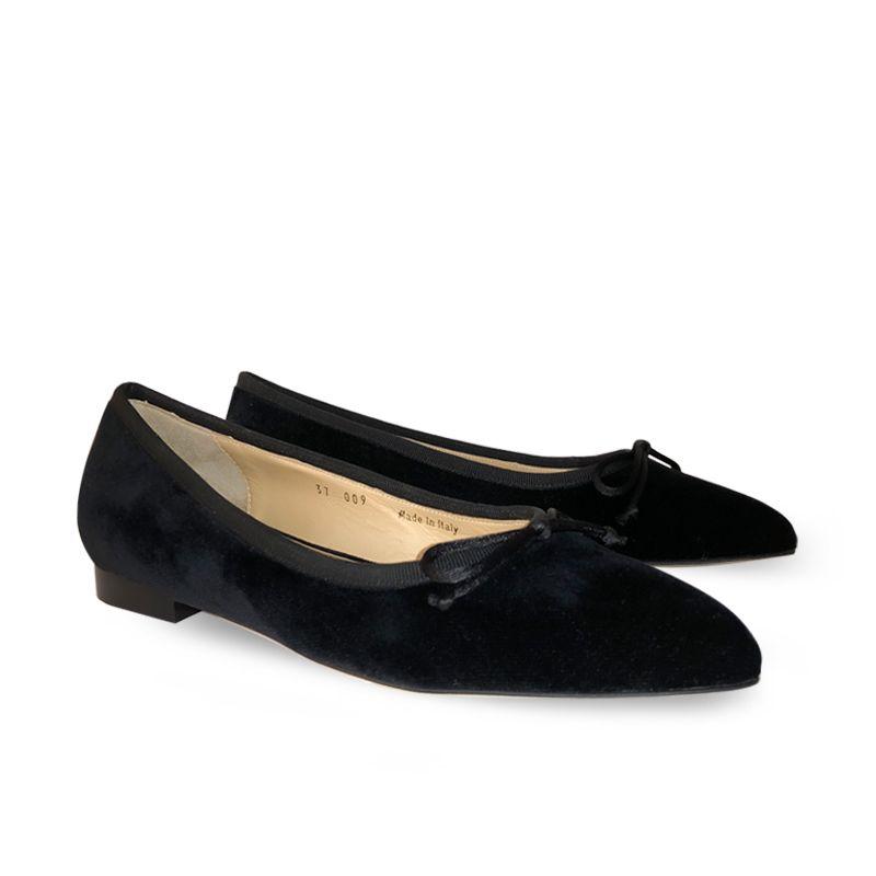 Ballerine in velluto nere, modello da donna, by Fragiacomo