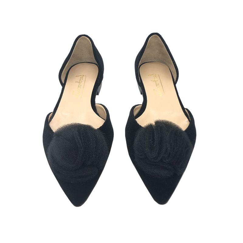 Ballerine in velluto nero fatte a mano in Italia con rouche, modello da donna by Fragiacomo