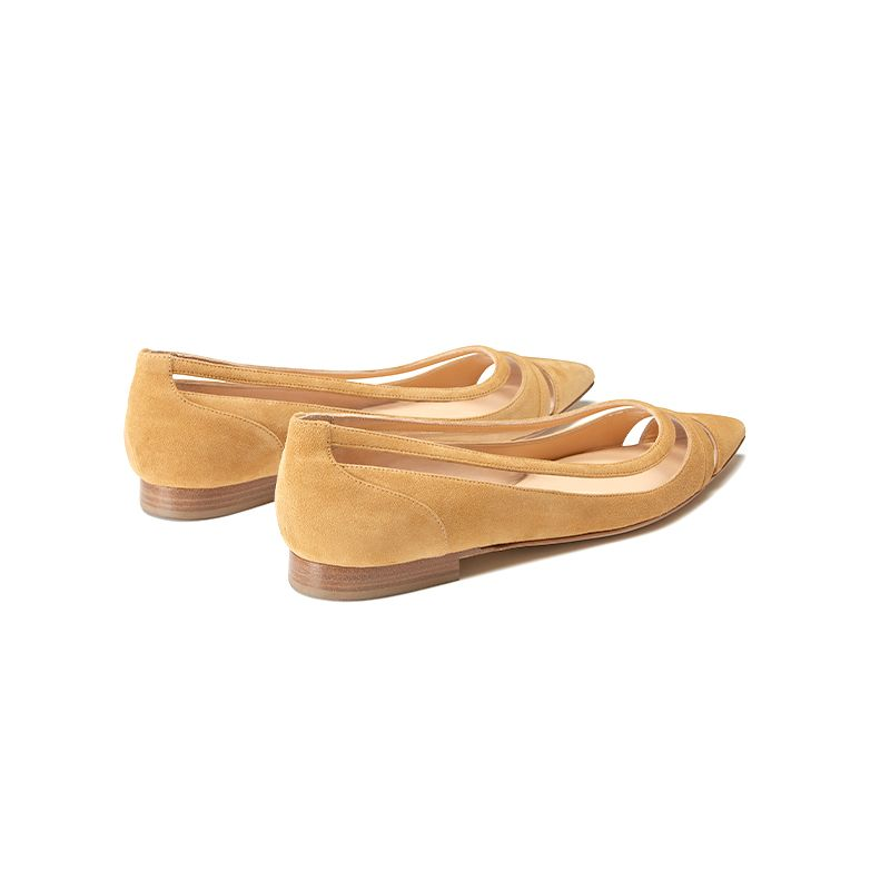 Beige suede ballerinas with pvc details hand made in Italy, women's model by Fragiacomo