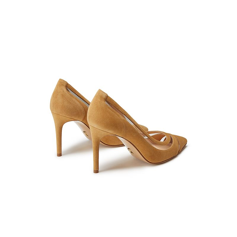 Beige suede pumps with pvc inserts hand made in Italy, women's model by Fragiacomo