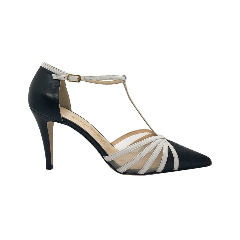 Black and white leather high heel pumps hand made in Italy, women's model by Fragiacomo