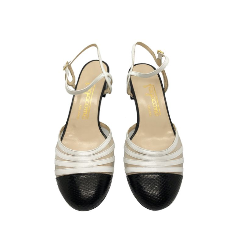 Black and white leather low heel slingbacks hand made in Italy, women's model by Fragiacomo