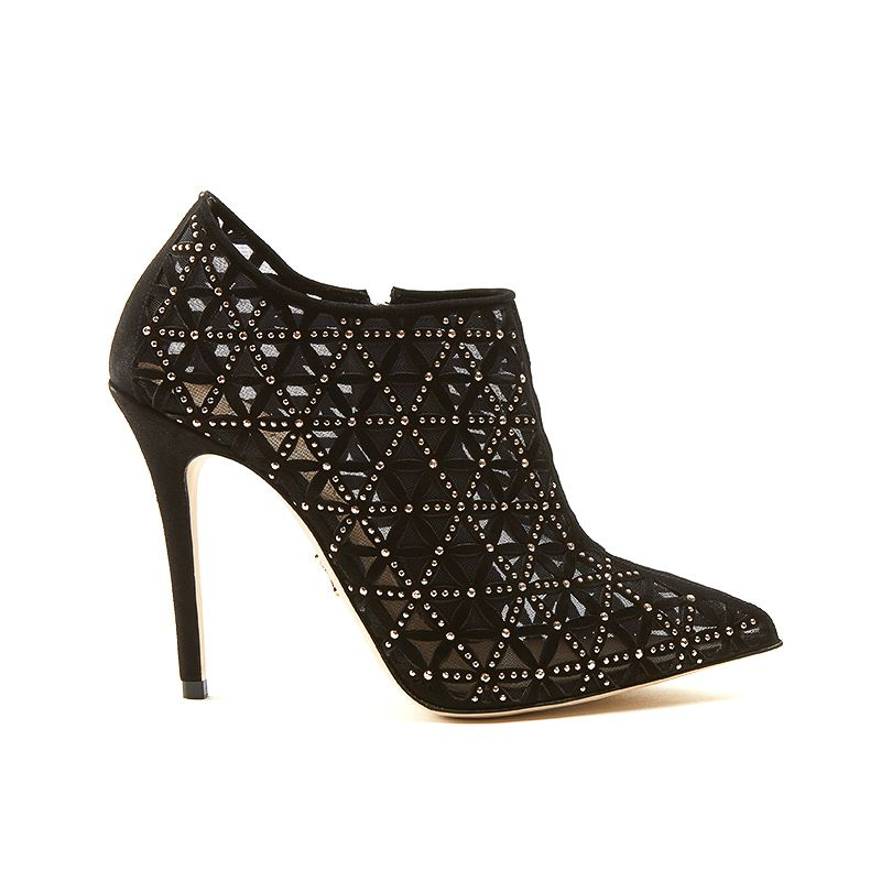 Black suede ankle boots with iconic laser cut pattern, small gold studs and 100 mm stiletto heel