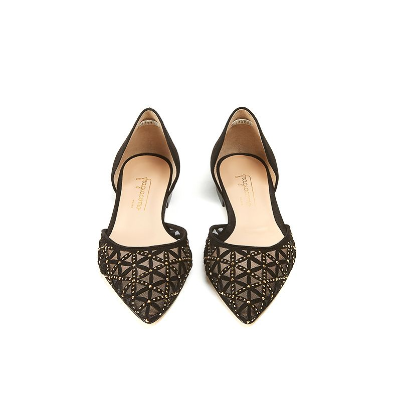 Black suede ballerinas with iconic laser cut pattern, small gold studs and 10 mm heel