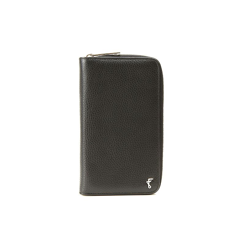 Handmade in Italy black moose leather big wallet with silver accessories, elegant men's by Fragiacomo