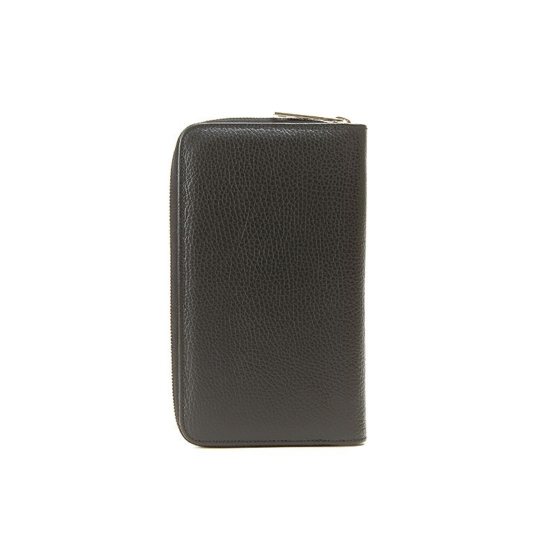 Handmade in Italy black moose leather big wallet with silver accessories, elegant men's by Fragiacomo, back view