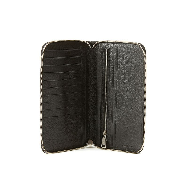 Handmade in Italy black moose leather big wallet with silver accessories, elegant men's by Fragiacomo, internal view