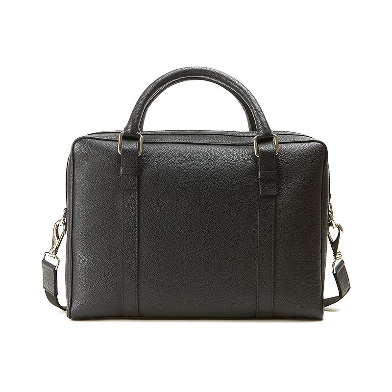 Black moose leather briefcase man  with silver accessories