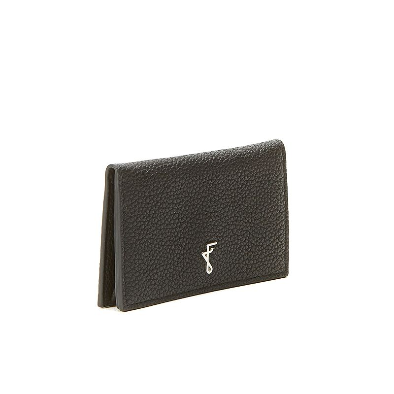 Black moose leather business card holder with silver accessories