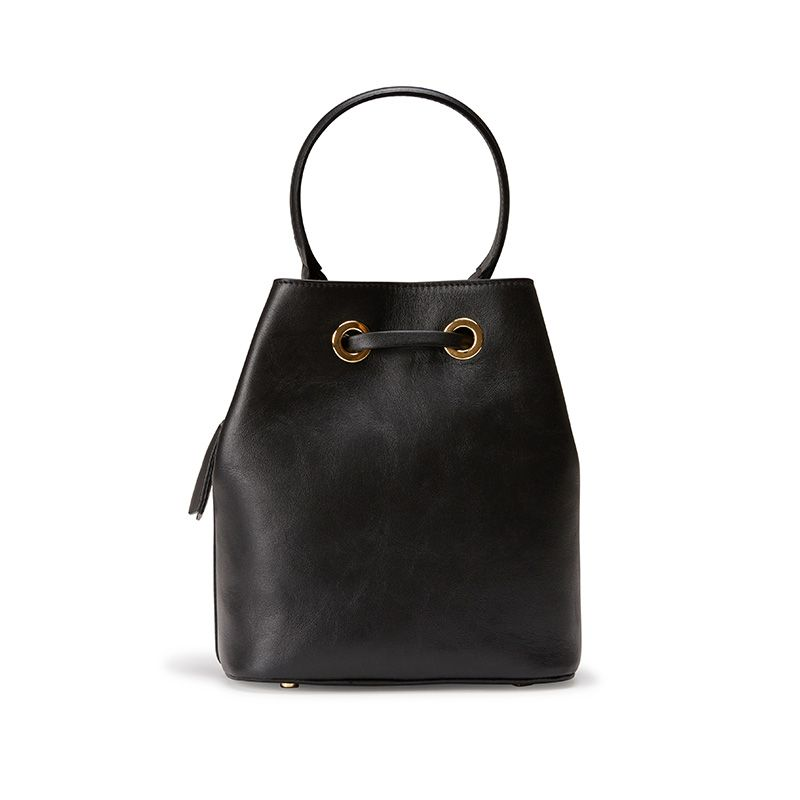 Black leather bucket bag with Fragiacomo logo