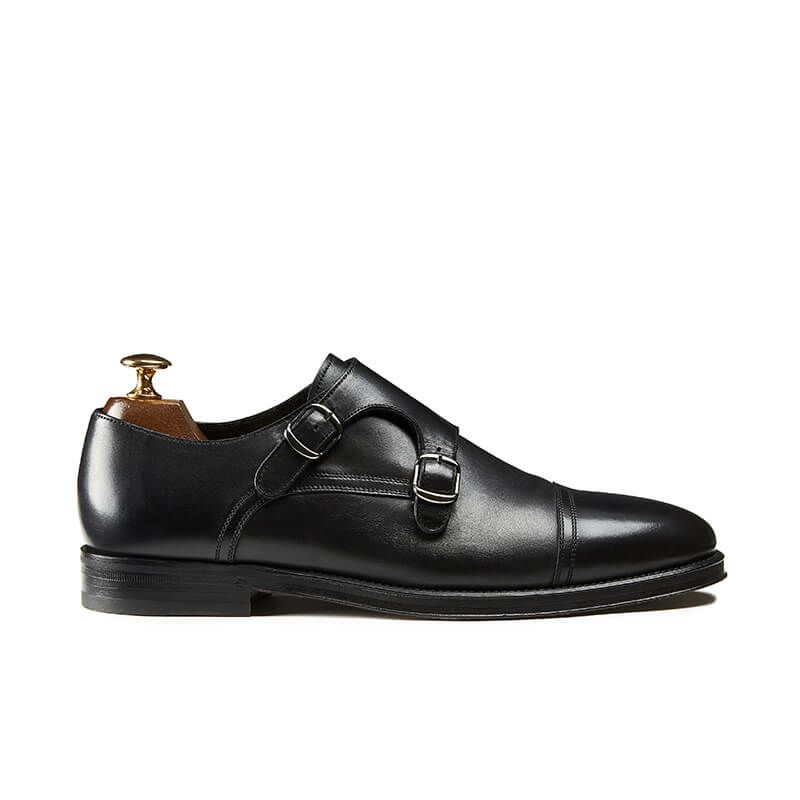 Black calfskin monk-strap shoes, hand made in Italy, elegant men's by Fragiacomo