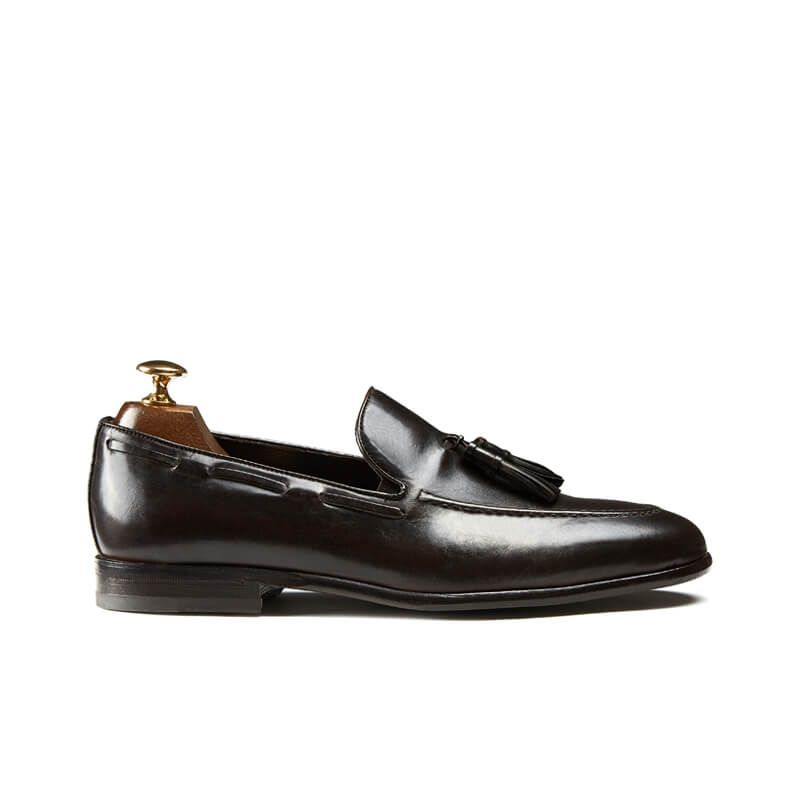 Handmade dark brown leather tassel loafers, men's model by Fragiacomo