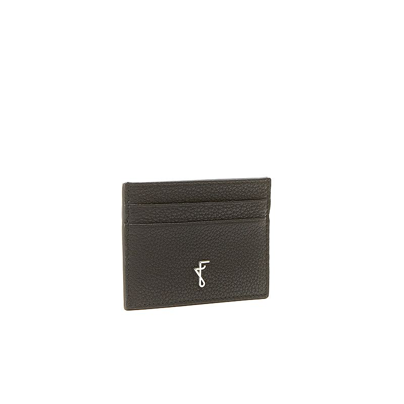 Black moose leather card holder  with silver accessories