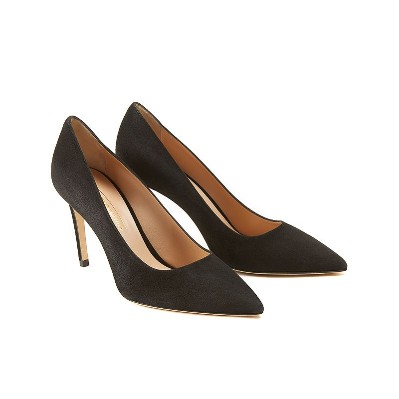 Iconic pumps is black suede with 85mm stiletto heel