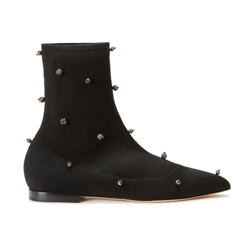 Black jersey stretch flat ankle boots with crystal beads hand made in Italy, women's model by Fragiacomo