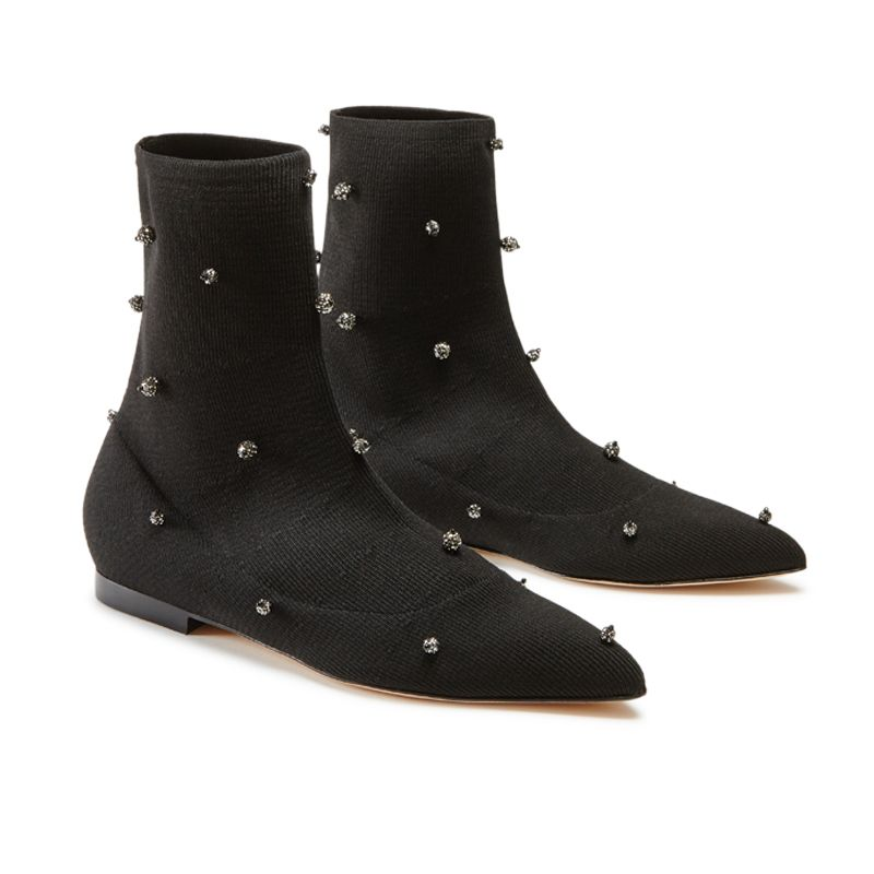 Black jersey stretch flat ankle boots with crystal beads hand made in Italy, women's model by Fragiacomo, side view