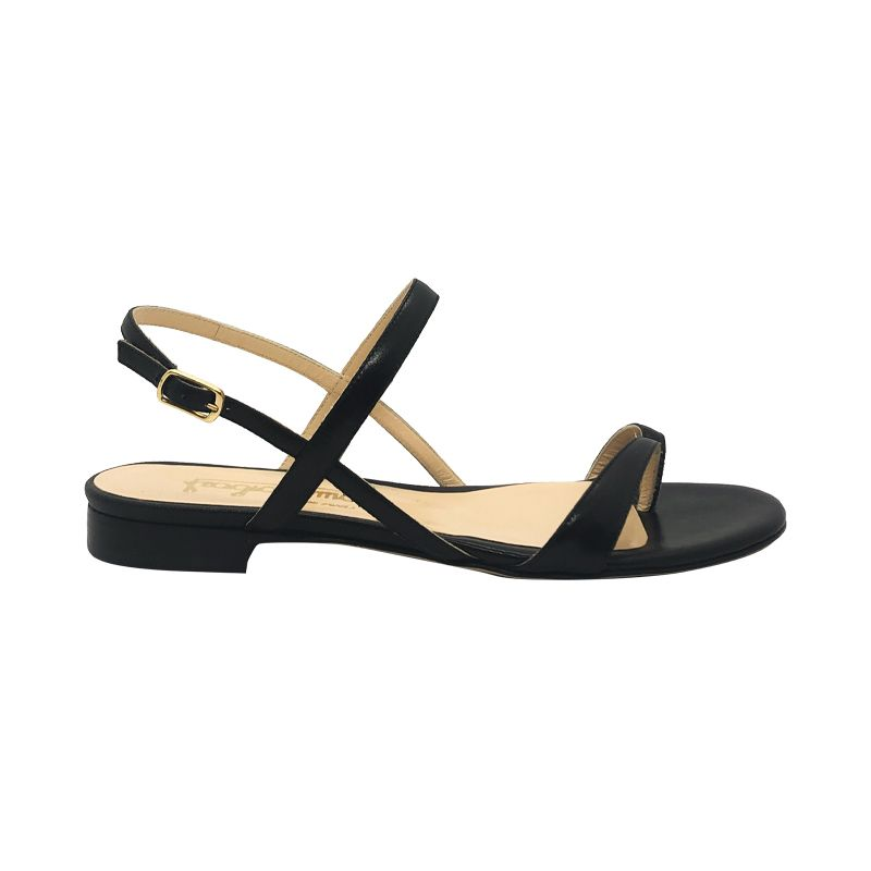 Black leather flat sandals hand made in Italy, women's model by Fragiacomo