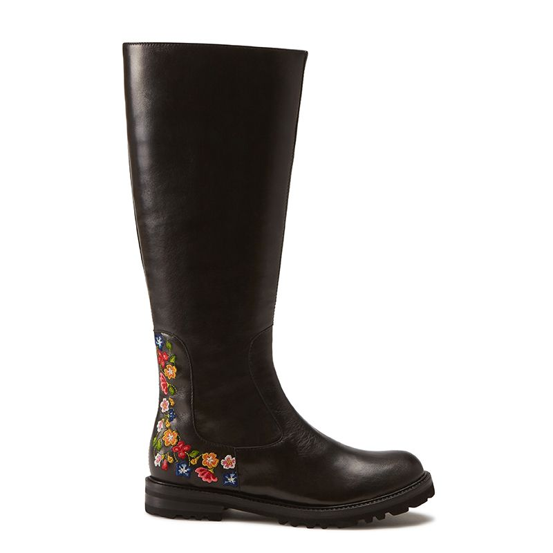 Black leather knee high boots hand made in Italy with iconic embroidery, women's model by Fragiacomo