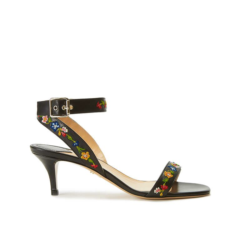 Black leather sandals with embroidered straps and low 55mm heel, SS19 collection by Fragiacomo