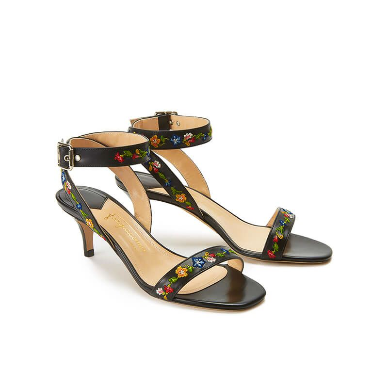 Black leather sandals with embroidered straps and low 55mm heel, SS19 collection by Fragiacomo, side view