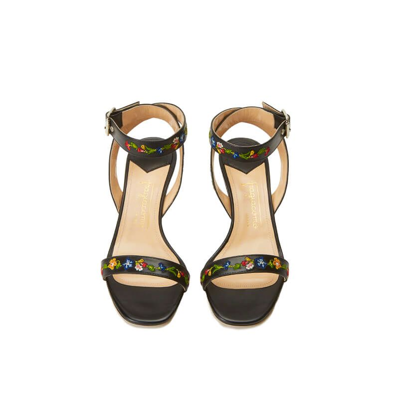 Black leather sandals with embroidered straps and low 55mm heel, SS19 collection by Fragiacomo, over view