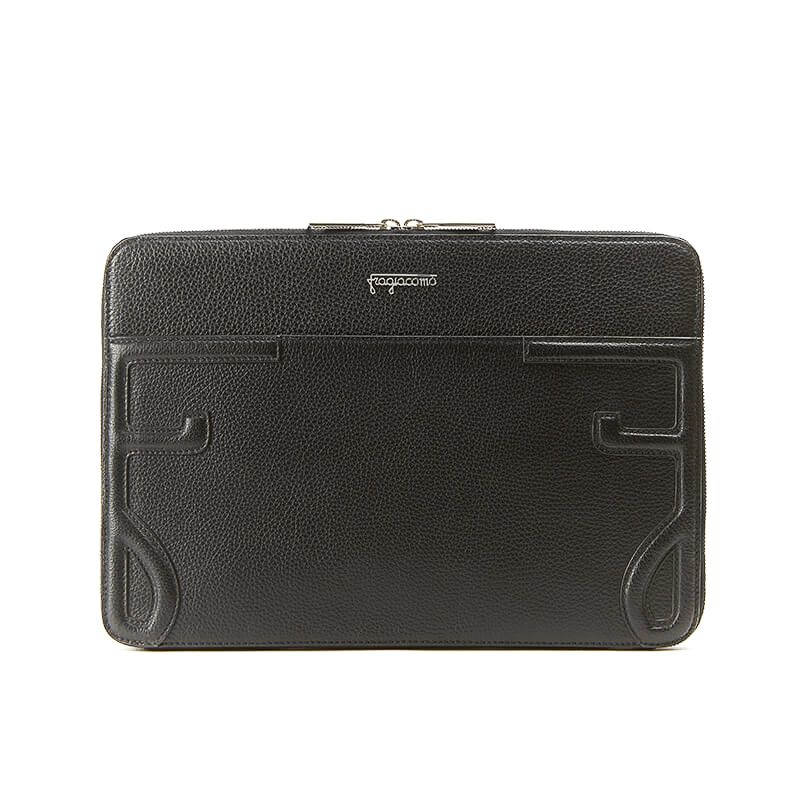 Handmade in Italy black moose leather 13 inches laptop case with silver zipper, elegant men's by Fragiacomo