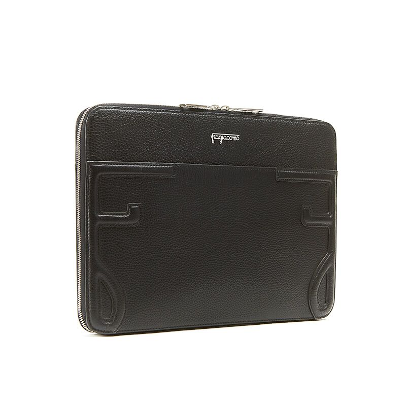 Handmade in Italy black moose leather 13 inches laptop case with silver zipper, elegant men's by Fragiacomo, side view