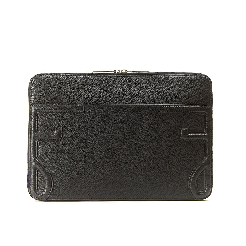 Handmade in Italy black moose leather 13 inches laptop case with silver zipper, elegant men's by Fragiacomo, back view
