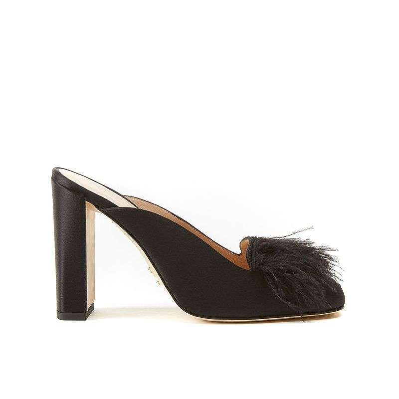 Black satin mules with feathers on the front part and chunky 100 mm heel