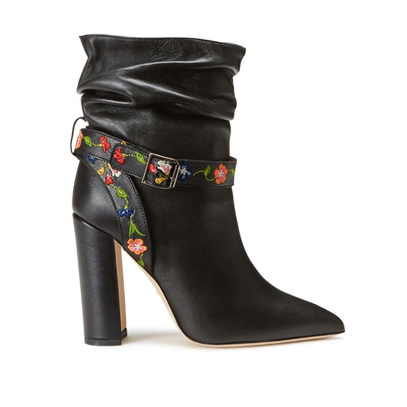 Black nappa leather ankle boots with embroidered straps hand made in Italy, women's model by Fragiacomo