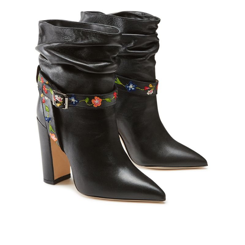 Black nappa leather ankle boots with embroidered straps hand made in Italy, women's model by Fragiacomo, side view