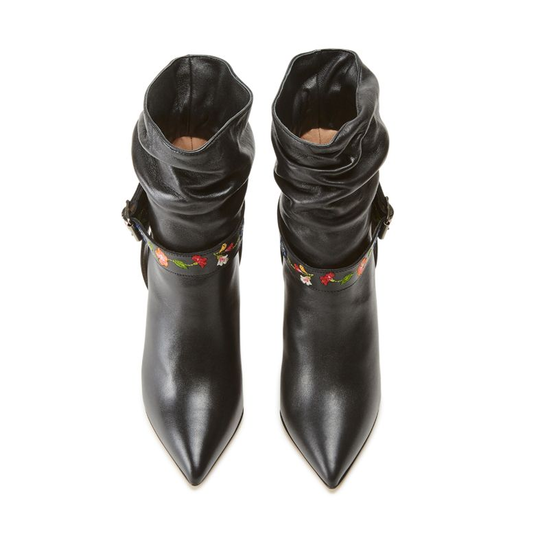 Black nappa leather ankle boots with embroidered straps hand made in Italy, women's model by Fragiacomo, over view