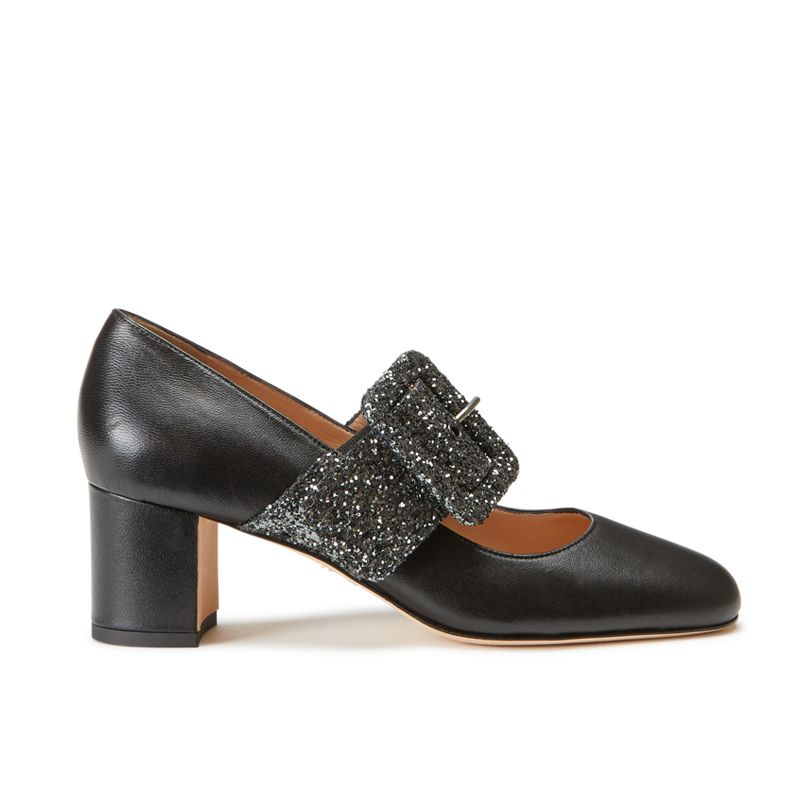 Black nappa leather Mary Jane shoes with glitter strap hand made in Italy, women's model by Fragiacomo