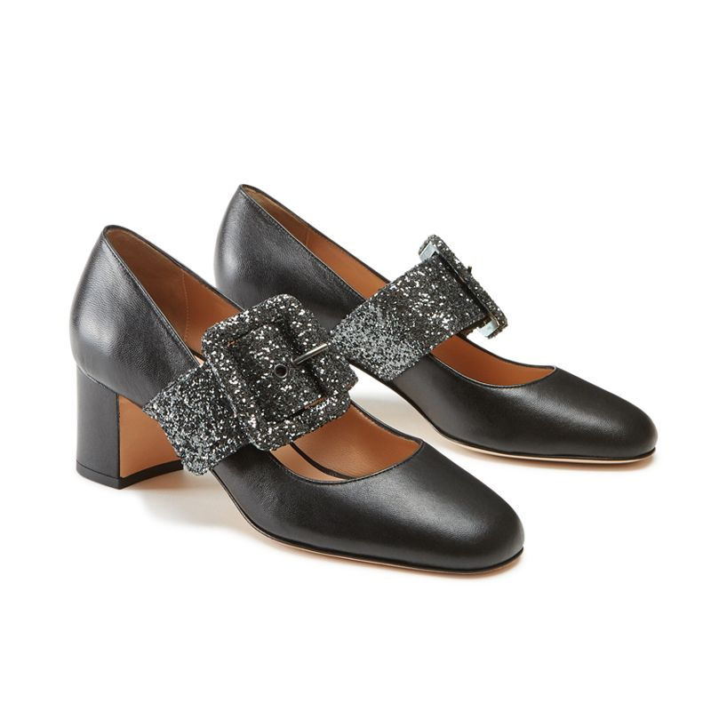 Black nappa leather Mary Jane shoes with glitter strap hand made in Italy, women's model by Fragiacomo, side view